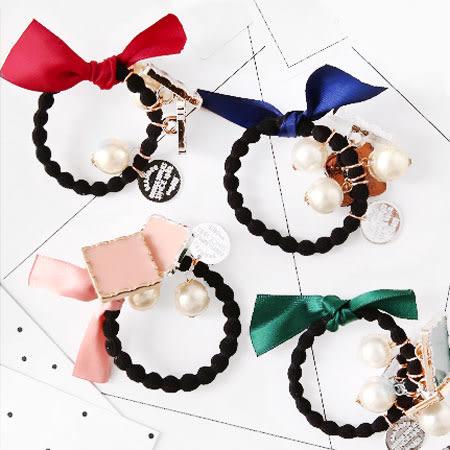 法式蝴蝶結珍珠緞帶髮圈 髮束 髮圈 髮飾 髮繩 飾品 簡約 蝴蝶結 珍珠 緞帶