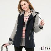 外套V領撞色修身斜拉鍊毛料連帽保暖大衣LIYO理優E748009