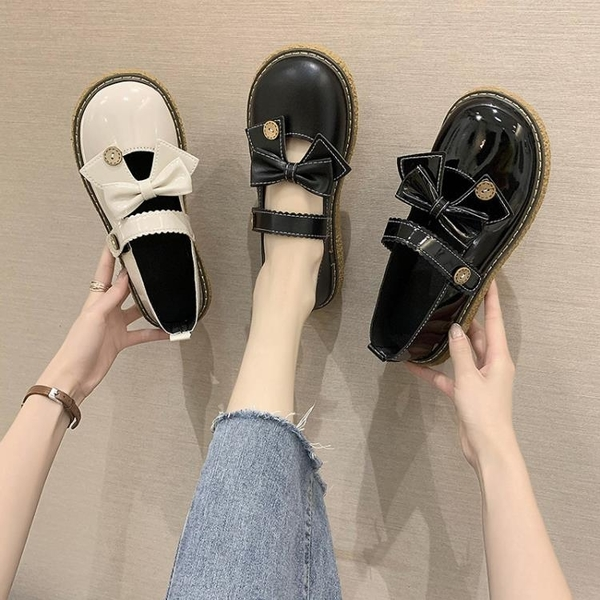 娃娃鞋 軟妹可愛小皮鞋日系圓頭女學生百搭蝴蝶結平底JK鞋子制服鞋大頭鞋 - 古梵希