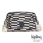 Kipling 黑白撞色格子側背腰包-小