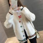 針織外套 女裝秋2020新款學生韓版口袋毛衣外套女寬鬆V領長袖外搭針織開衫