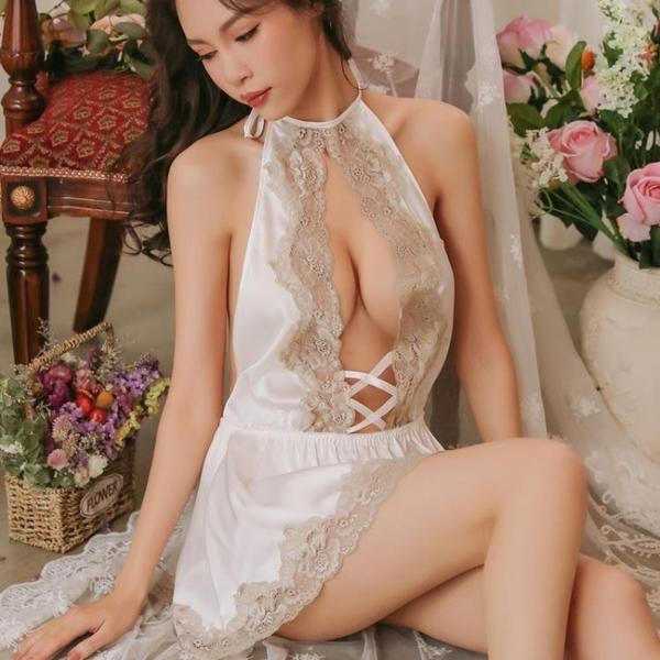 性感睡衣女蕾絲薄款透明露背內衣吊帶睡裙制服午夜魅力  瑪麗蘇