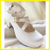加軟日系白色甜美女仆lolita洛麗塔鬆糕粗跟高跟花朵單女皮鞋 居享優品