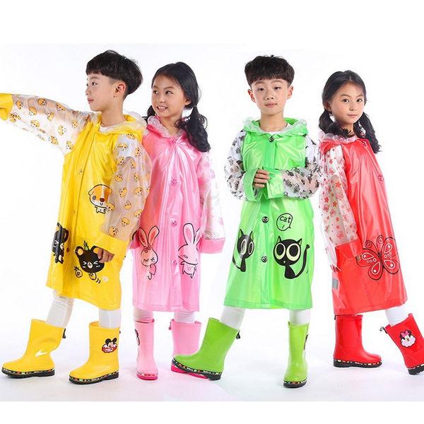 兒童 可愛造型 安全反光條雨衣書包位 y7035