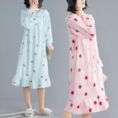 大尺碼洋裝 2019秋冬新款卡通印花加厚珊瑚絨睡裙女寬鬆甜美減齡荷葉邊連衣裙  快速出貨