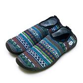 LIKA夢 LOTTO 多用途戶外休閒運動溯溪機能水鞋 AQUWEAR系列 圖騰藍 0976 附收納袋 女