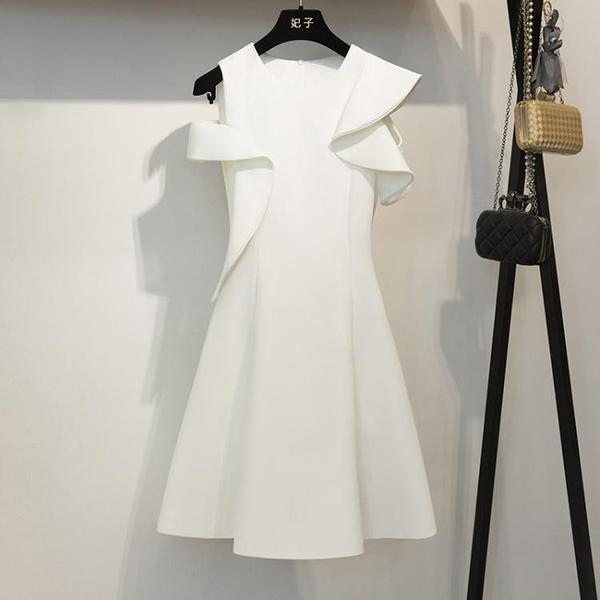 名媛高貴晚宴服 氣質晚禮服洋裝 白色無袖禮服 連身裙女 萬聖節鉅惠