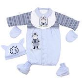 【愛的世界】小豬純棉舖棉長袖兩用嬰衣禮盒/3個月-台灣製- ★禮盒推薦