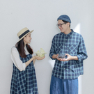 Queen Shop【01023887】配色藍格紋單口袋長袖襯衫*現+預*