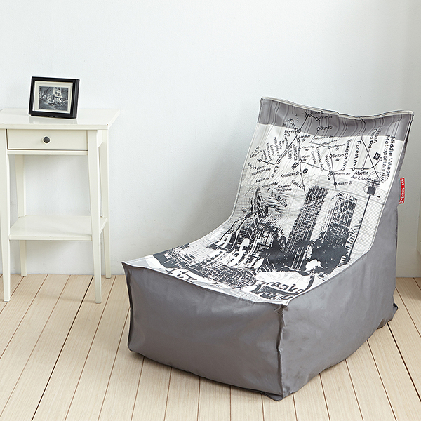 【班尼斯國際名床】~漫步城市‧高靠背L型座椅幾何印花懶骨頭/沙發椅