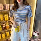 短款t恤女夏裝潮寬松條紋法式鎖骨方領短袖上衣【桃可可服飾】