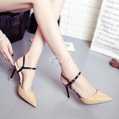 涼鞋女韓版一字扣尖頭細跟小清新高跟鞋後空百搭女鞋 俏腳丫
