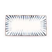 藍黛陶瓷11.7吋長方盤-筆十草