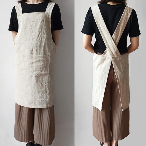 圍裙 圍裙女時尚男工作服家用廚房防水油定制logo印字可愛日式背帶韓版  美物 99免運