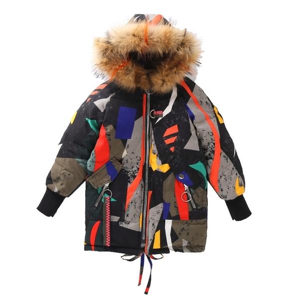 女孩連帽個性嘻哈女童外套羽絨服 女兒童裝中大女童潮流棉服外套 韓加厚保暖秋冬洋氣加絨夾克