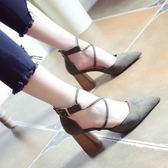 粗跟後拉鏈高跟鞋 女顯瘦OL單鞋【多多鞋包店】z1174