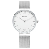 【台南 時代鐘錶 TAYROC】英國簡約現代風 IRIS 米蘭帶時尚腕錶 TY147 白/銀 36mm
