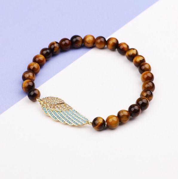 歐美 時尚 新款 手飾 手環 鍍銅 鑲鋯石 個性 虎眼石 串珠 手鍊