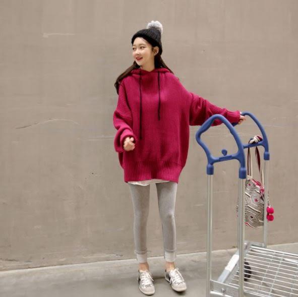 丁果、女裝►連帽抽繩長袖針織衫*2色(僅賣現貨)