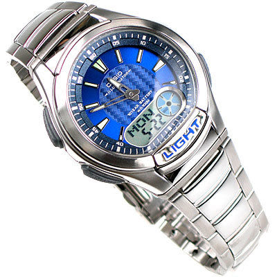 CASIO卡西歐 AQ-180WD-2A 勁速雙顯功能錶賽車錶 藍 鐵帶款 40mm 男錶 AQ-180WD-2AVDF