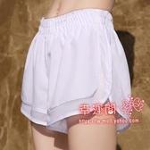 假兩件運動褲 短褲女速幹透氣寬鬆假兩件瑜珈健身防走光馬拉鬆跑步褲夏內襯 3色