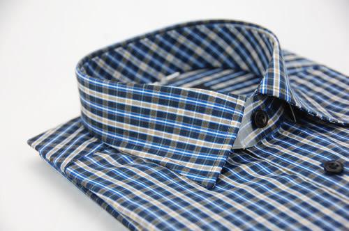 【金‧安德森】藍黃格紋窄版長袖襯衫