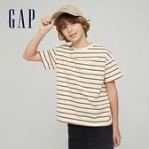 Gap男童 純棉基本款圓領短袖T恤 785201-棕色條紋