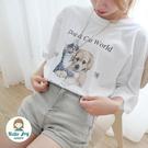 【正韓直送】油畫貓咪與小狗短袖上衣 3色...