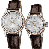 ORIS 豪利時 Big Crown Original指針式日期機械對錶-玫瑰金框/38+28mm 0175476964361-0752052+0159476954361-0751452