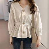 秋季新款棉麻長袖襯衫女大碼收腰顯瘦內搭上衣小心機設計感打底衫
