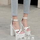 高跟涼鞋 2021夏季新款粗跟超高跟防水臺一字帶涼鞋女鞋8599-30 17麥琪
