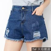 【天母嚴選】刷破抽鬚後鬆緊丹寧牛仔短褲(共二色)