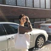 新款韓版簡約百搭白色大容量帆布包女單肩休閒文藝手提袋學生 聖誕節免運