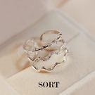 戒指 韓國三層波浪一體成型 微鑲水鑽 開口式戒指【1DDR0015】