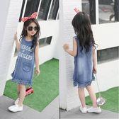 童裝女童2019夏季新款韓版牛仔裙子兒童連身裙無袖背心裙女公主裙