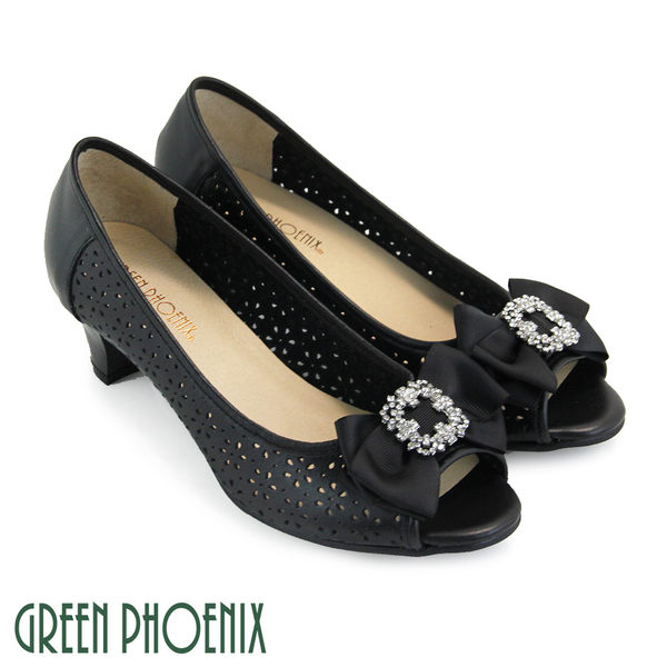 U33-2A062 女款全真皮魚口鞋  緞面蝴蝶結方形水鑽花紋孔洞全真皮中跟魚口鞋【GREEN PHOENIX】