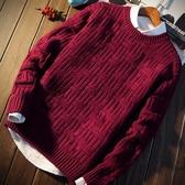 秋冬季本命新年男士加厚圓領韓版潮流個性保暖大紅色毛衣男針織衫 依夏嚴選