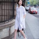 襯衫裙 夏裝新款韓范休閒短袖白色襯衫女大碼上衣中長款寬鬆BF襯衣裙 交換禮物