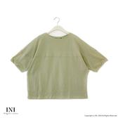 【INI】注目率性、立體特殊剪裁文青感上衣.綠色