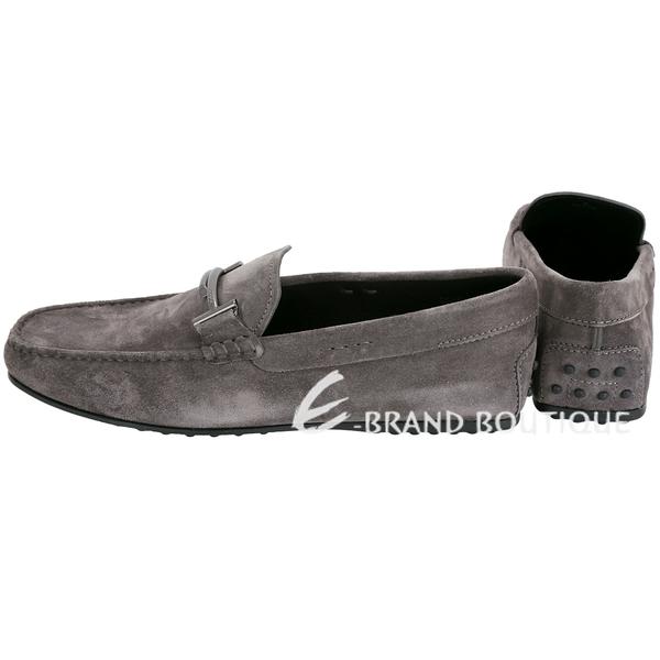 TOD'S City Gommino 雙T金屬飾麂皮豆豆休閒鞋(男鞋/深灰色) 1840078-11
