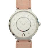 LOUIS VUITTON LV 路易威登 銀白色原花圖紋面盤鑲8P鑽石英腕錶 Tambour Slim 39 Q1E01