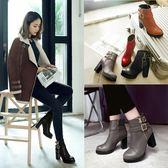 丁果、大尺碼女鞋33-46►英倫風扣帶造型粗跟短靴*4色
