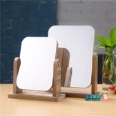 木質化妝鏡 創意新款木質臺式化妝鏡子 高清單面梳妝鏡美容鏡 學生宿舍桌面鏡