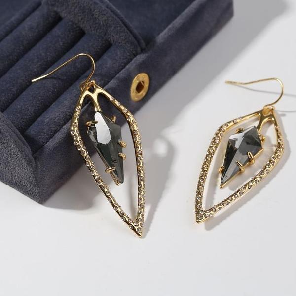 個性幾何菱形耳釘歐美時尚冷淡風耳環復古氣質長款耳釘配飾