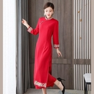 越南旗袍洋裝 中國風立領刺繡禮服裙女 2021春秋款改良旗袍奧黛連身裙復古長裙