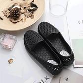 洞洞鞋 涼鞋 夏季洞洞鞋上班工作鞋女士軟底舒適塑料平跟鏤空透氣防滑百搭涼鞋 薇薇