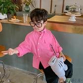 純棉男童長袖襯衫寶寶襯衣兒童韓版洋氣秋裝上衣【淘夢屋】