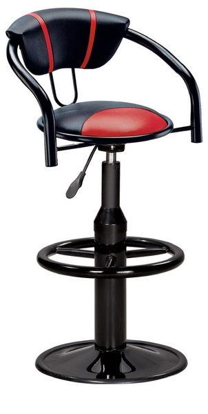 【IS空間美學】紅黑扶手高吧檯椅