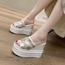 坡跟涼拖鞋女夏韓版厚底潮12cm新款歐美超高跟防水台時尚人字拖鞋