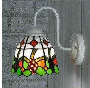 設計師美術精品館歐美藝術燈飾 彩色玻璃 臥室壁燈 葡萄鏡前燈 簡約田園現代燈具